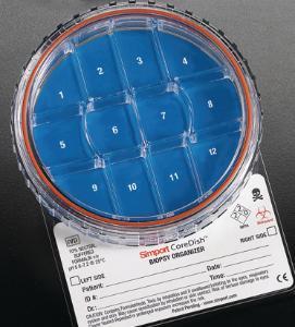Biopsy containers, multi-compartment, with closure, CoreDish™